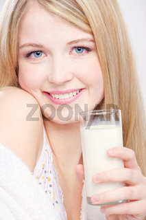 girl have glass of milk