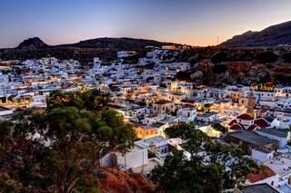 Lindos rhodes greece sunset
