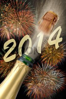 Neujahr 2014 mit Champagner