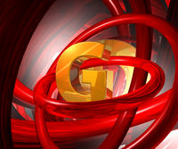 buchstabe g und rote ringe - 3d illustration