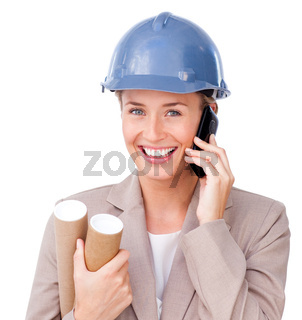 Close-up of a female architect on phone against a white background