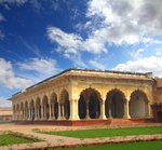 palace with columns in agra fort