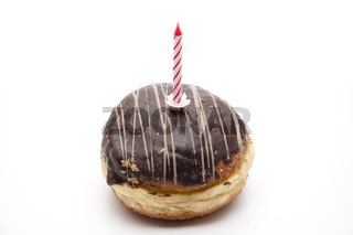 Krapfen mit Geburtstag Kerze