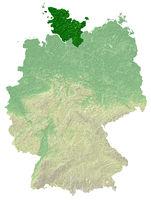 Schleswig-Holstein - topografische Relief Karte DE