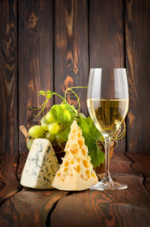 Wineglass and cheese
