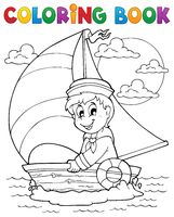 Coloring book sailor theme 1 - picture illustration.