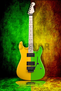 guitar on green and yellow background