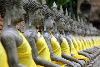 Der Wat Yai Chai Tempel in der Tempelstadt Ayutthaya noerdlich von Bangkok in Thailand.