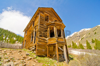 The Largest Preserved House in Animas Forks, a Ghost Town in the San Juan Mountains of Colorado