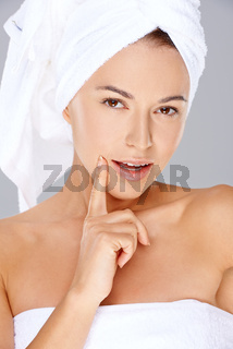Beauty portrait of a radiant beautiful woman