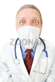 Mature doctor in mask staring at camera