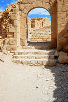 Stone stairs leading up to ancient fortress Masada
