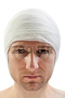 Bandage on wound head