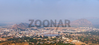 Panorama Holy city Pushkar and Puchkar Mela (camel fair) aerial view from Savitri temple. Rajasthan