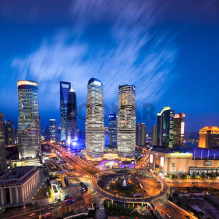 aerial view of shanghai skyline at evening