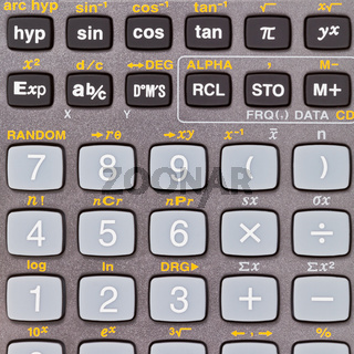keys of scientific calculator with mathematical functions
