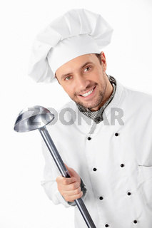 Cook with ladle