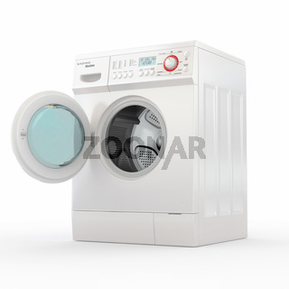 Opening washing machine on white background. 3d