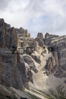 Rocky mountain ridge in the Dolomites