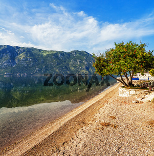 beach with sea and mountain views.  Montenegro