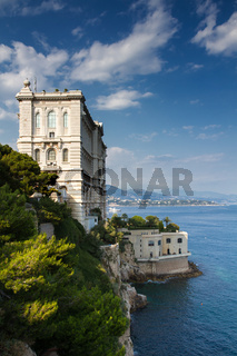 Coastline of Monaco overlooked by the Oceanographic Museum
