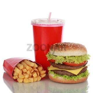 Doppel Cheeseburger Menü mit Pommes und Cola isoliert