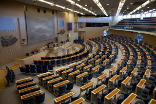 Interior of Swedish parliament in Stockholm