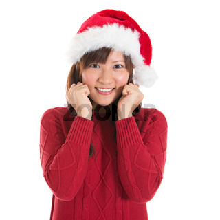 Happy Asian Christmas woman