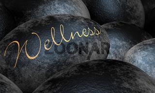 Schwarze Steine mit Text - Wellness