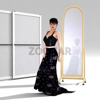Frau im Abendkleid im Schlafzimmer