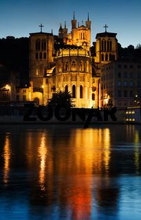 Notre Dame de Fourviere in Lyon illuminated