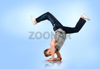 Break dancer balancing on his forearms