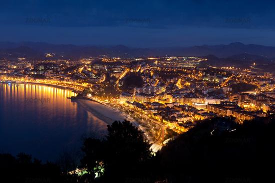 Panoramic of San Sebastian, Gipuzkoa, Spain