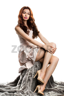 beautiful fashionable woman isolated on white background