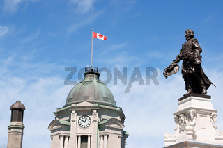 Old Post Office and monument to Champlain