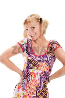 Portrait happy blonde girl