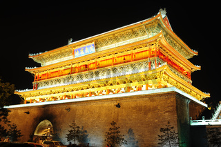 Night view of the famous landmark of Drum Tower in Xian