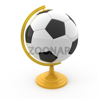 Soccer Terrestrial globe isolated on white