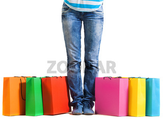 Young woman after shopping