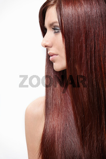 Attractive girl with long hair isolated