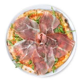 italian pizza with ham isolated on white