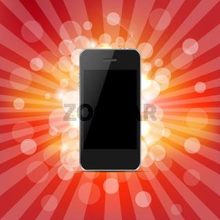 Phone And Red Sunburst
