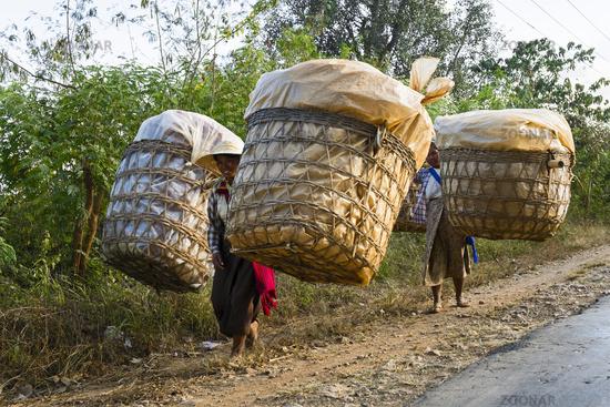 Lastentraeger bei Nyaung Shwe am Inle See, Myanmar
