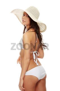 Young beautiful woman in bikini