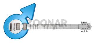 gitarre mit dem symbol für männlich - 3d illustration