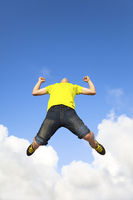 happy young man jumping