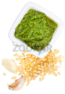 italian pesto with pine nuts and garlic cloves