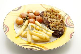Pommes mit Steak