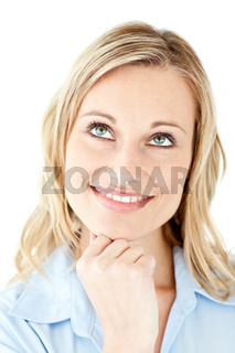 Portrait of a pensive businesswoman smiling at the camera