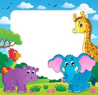 Frame with African fauna 1 - picture illustration.
